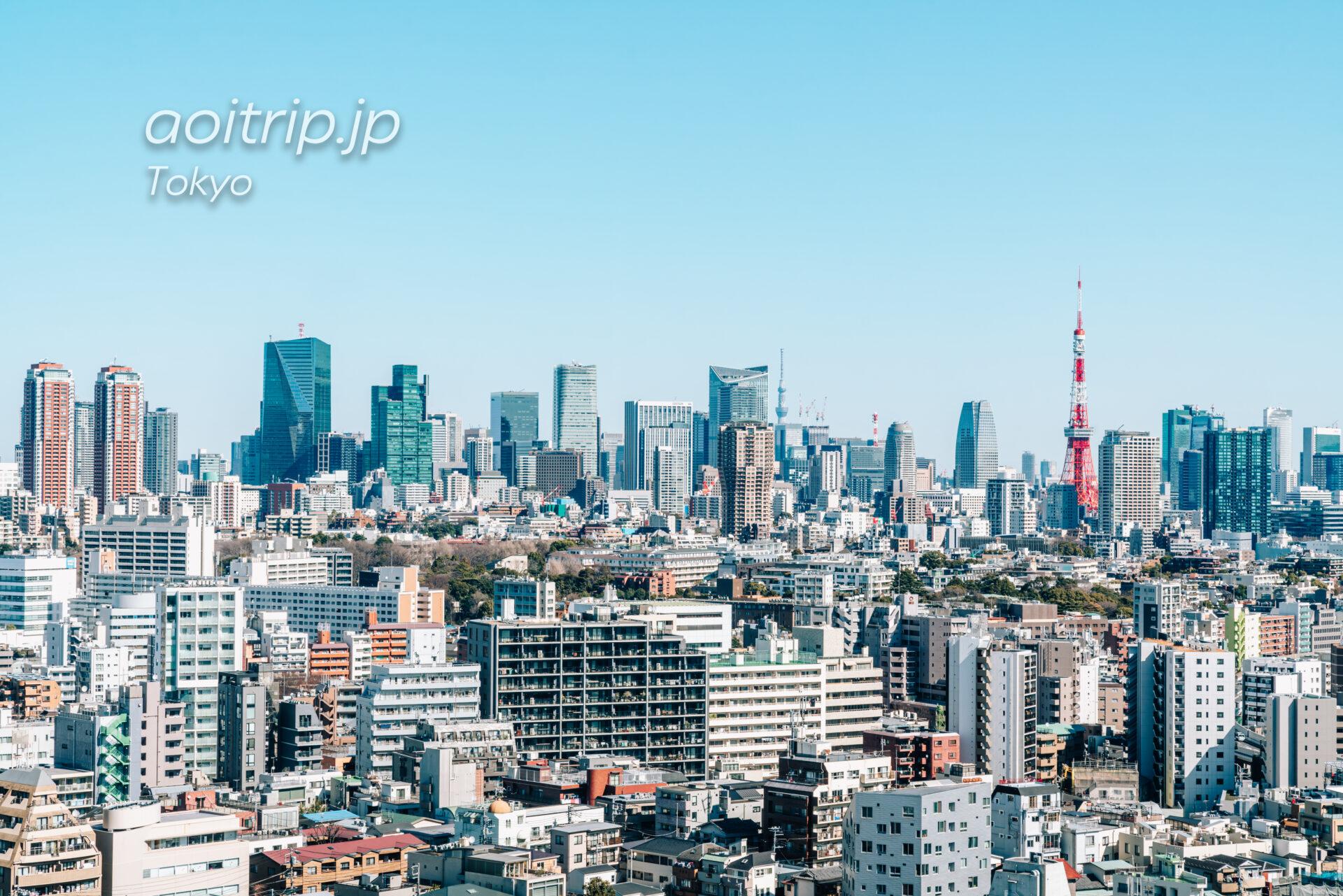 ウェスティン東京のクラブラウンジから望む東京タワー、東京スカイツリー、六本木