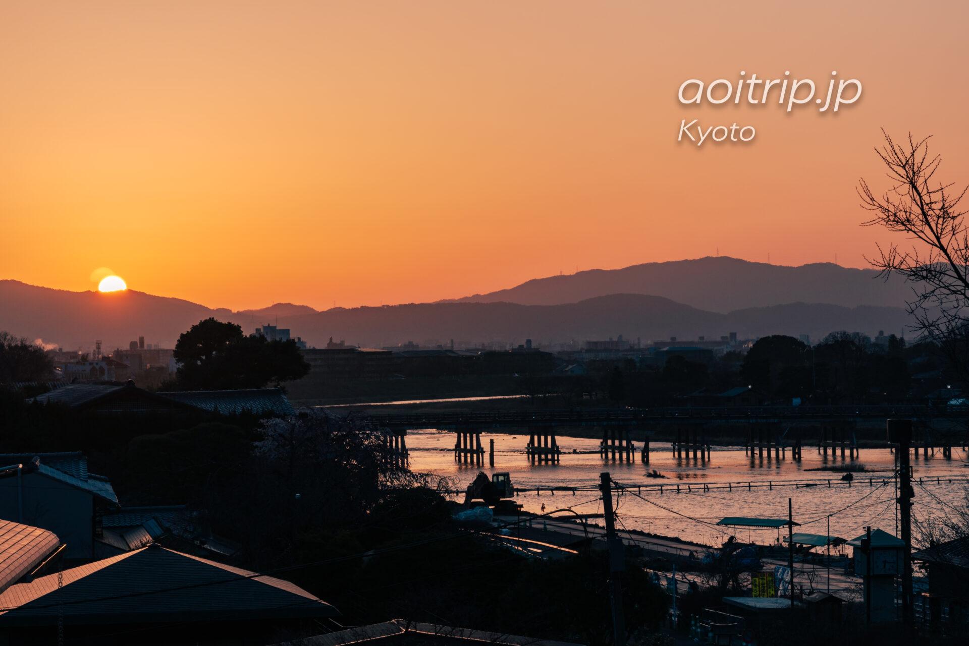 京都嵐山 夜明けの渡月橋と朝日