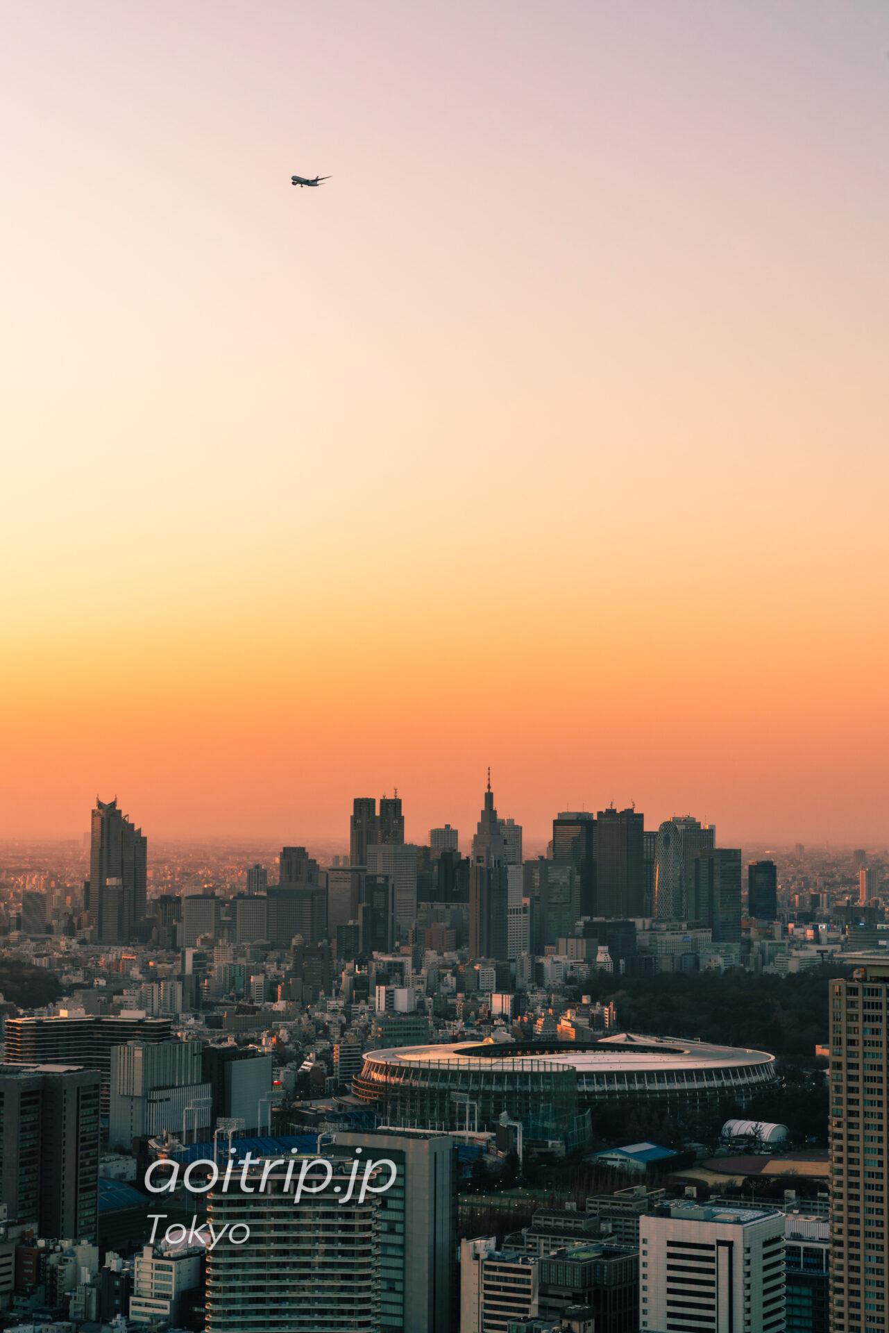 Tokyo Skyline ザ リッツカールトン東京から望む新宿副都心と国立競技場と飛行機
