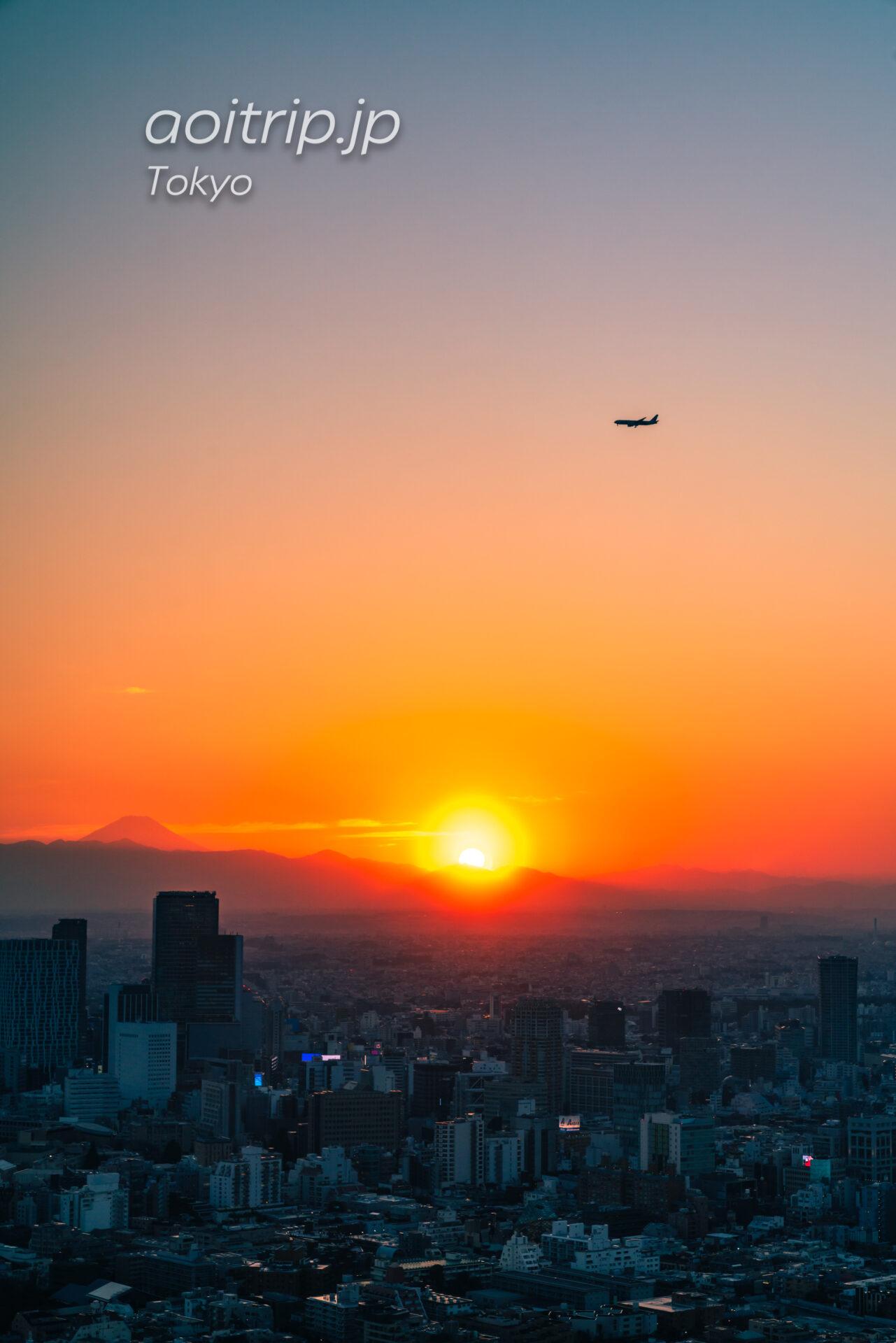 Tokyo Skyline ザ リッツカールトン東京から望む富士山と夕日と飛行機