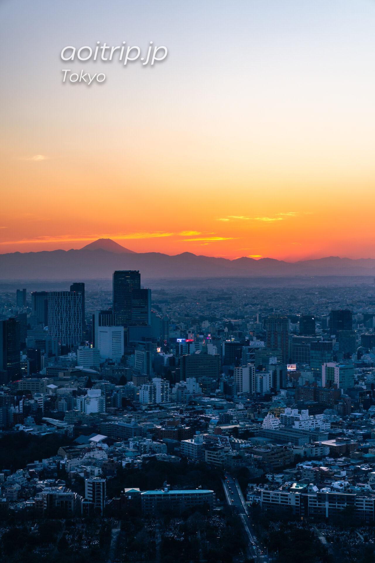 Tokyo Skyline ザ リッツカールトン東京から望む富士山と夕日