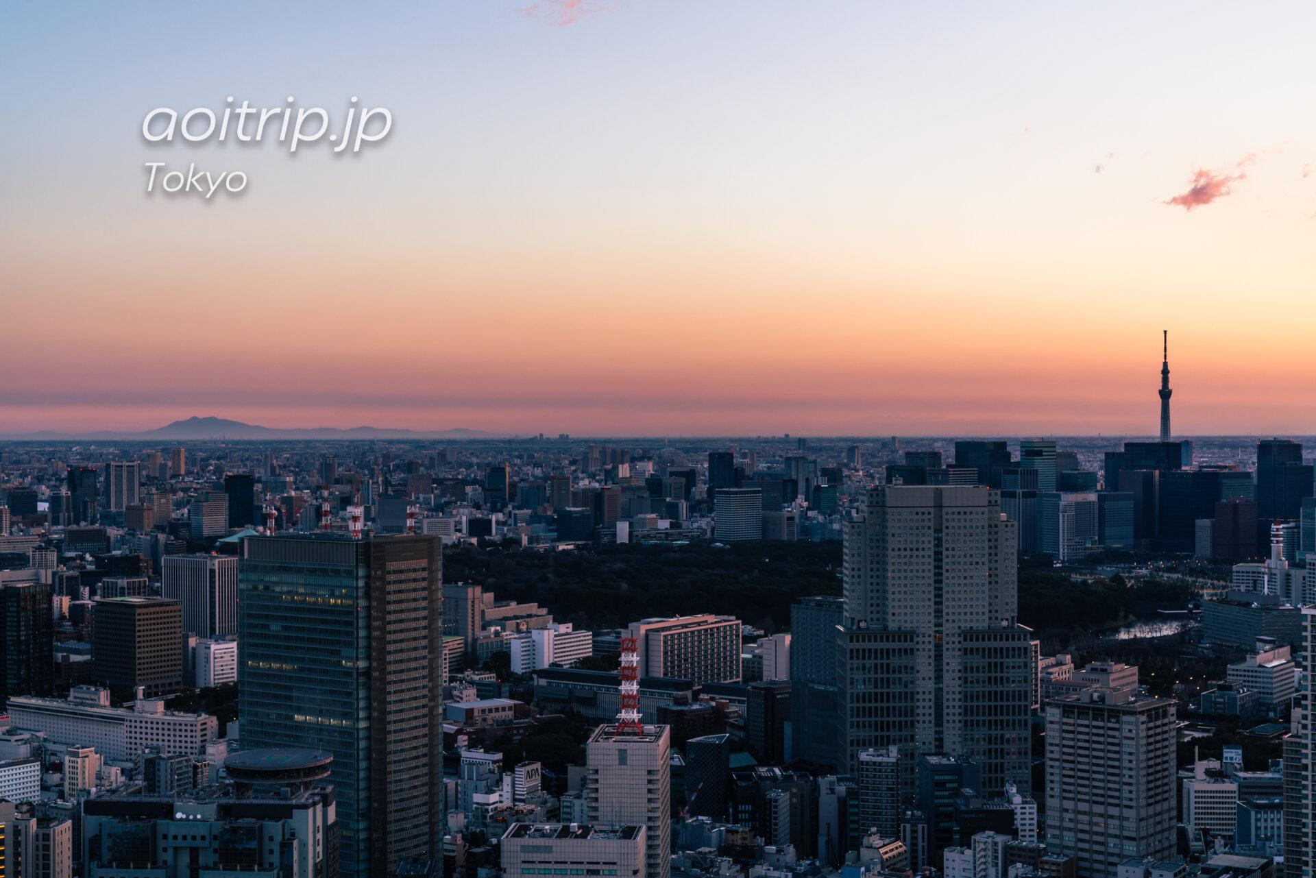 Tokyo Skyline ザ リッツカールトン東京から望む早朝の筑波山と東京スカイツリー