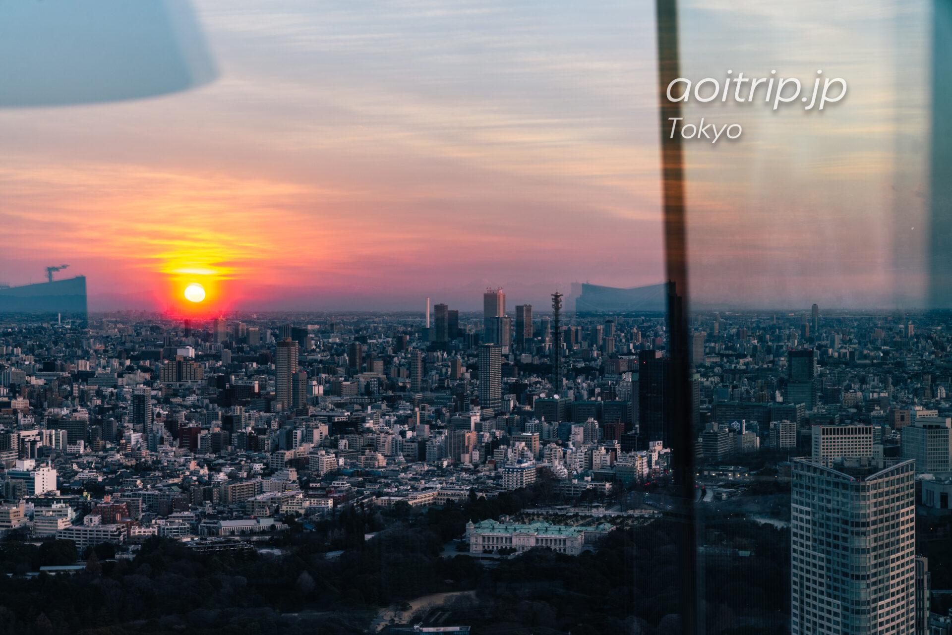 Tokyo Skyline ザ リッツカールトン東京から望む朝日と赤坂御用地、池袋