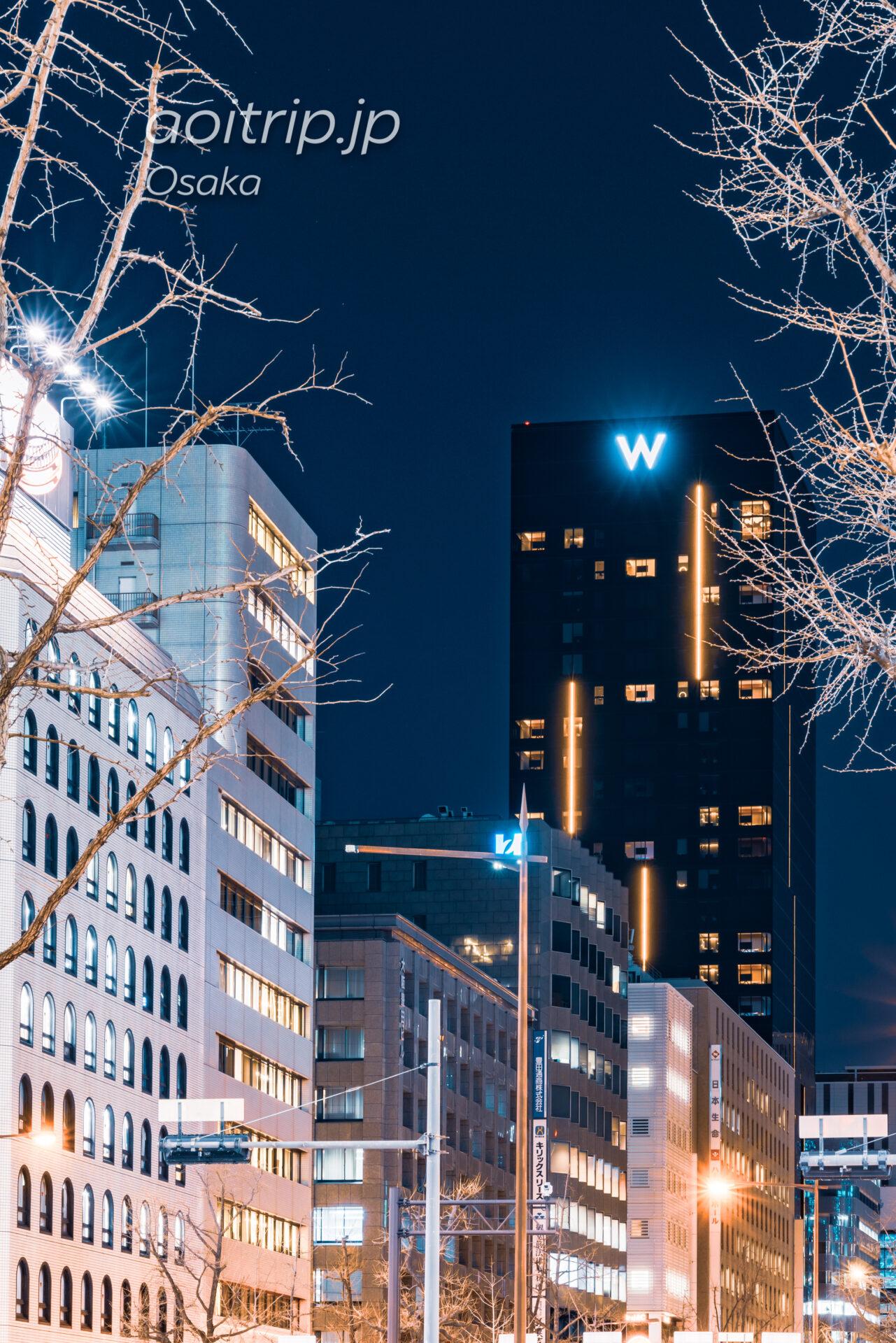 Wホテル大阪の外観と御堂筋