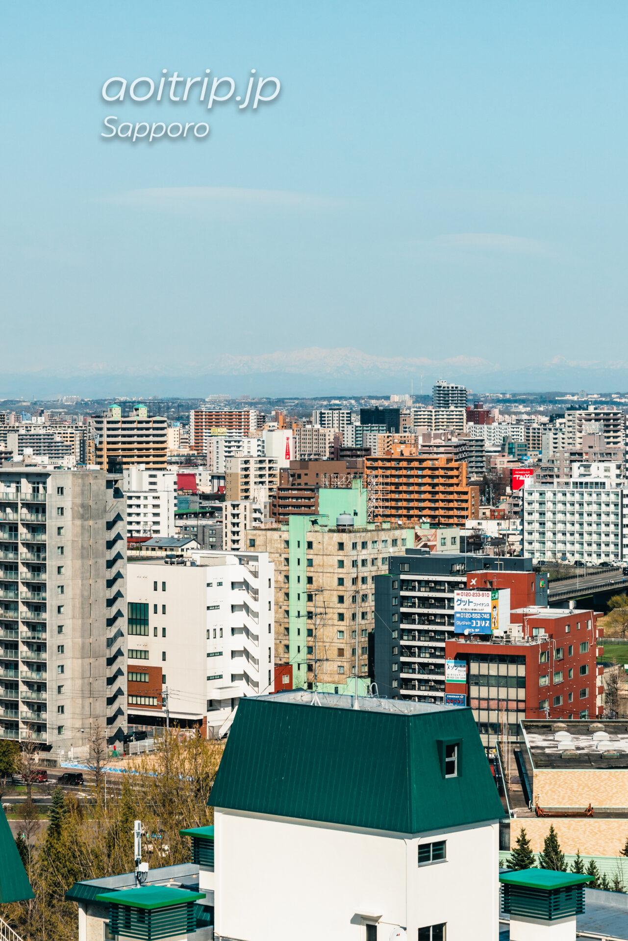 プレミアホテル中島公園札幌 客室からの眺望。芦別岳と南喜岳(ポントナシベツ岳)