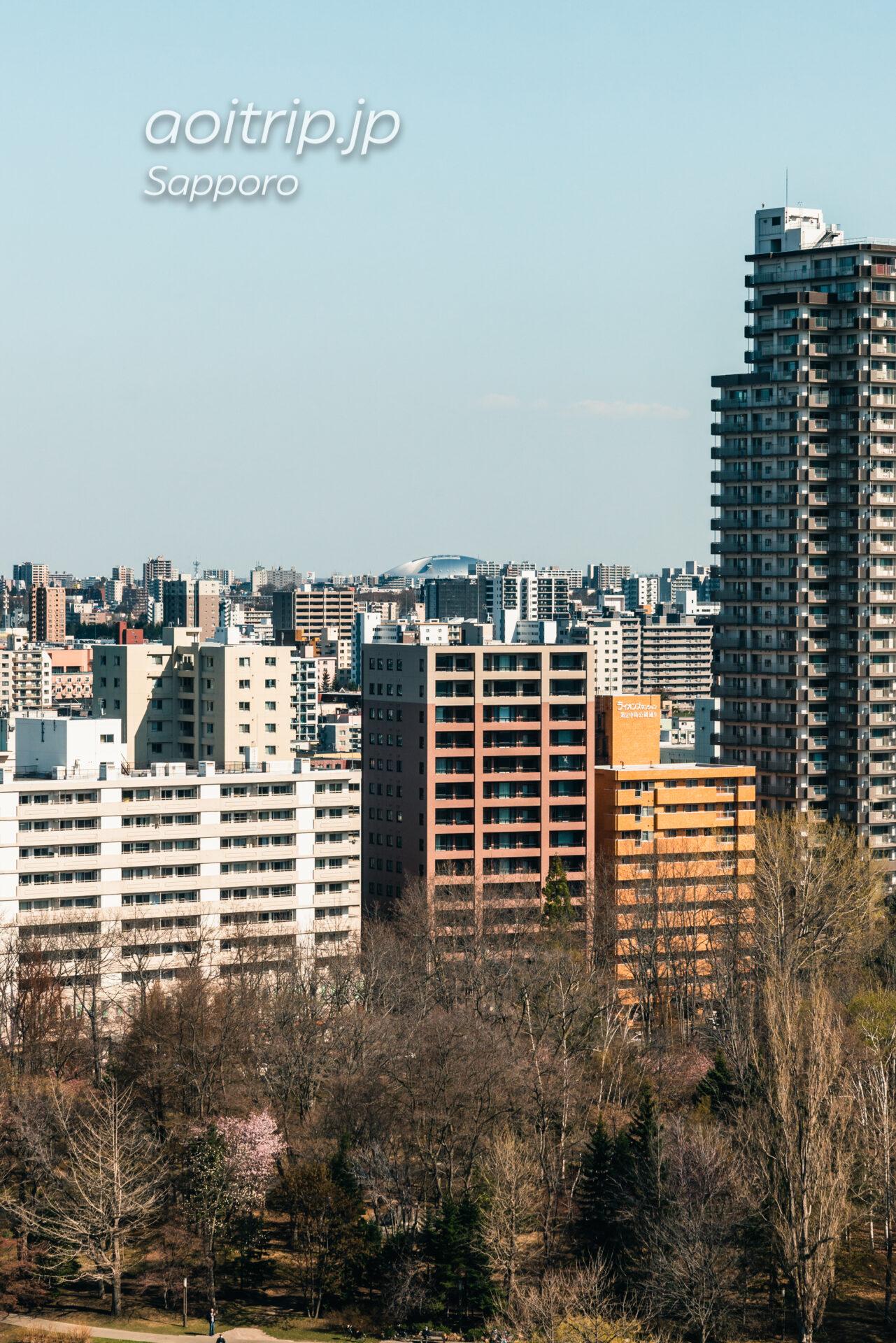プレミアホテル中島公園札幌 客室からの眺望。札幌ドーム