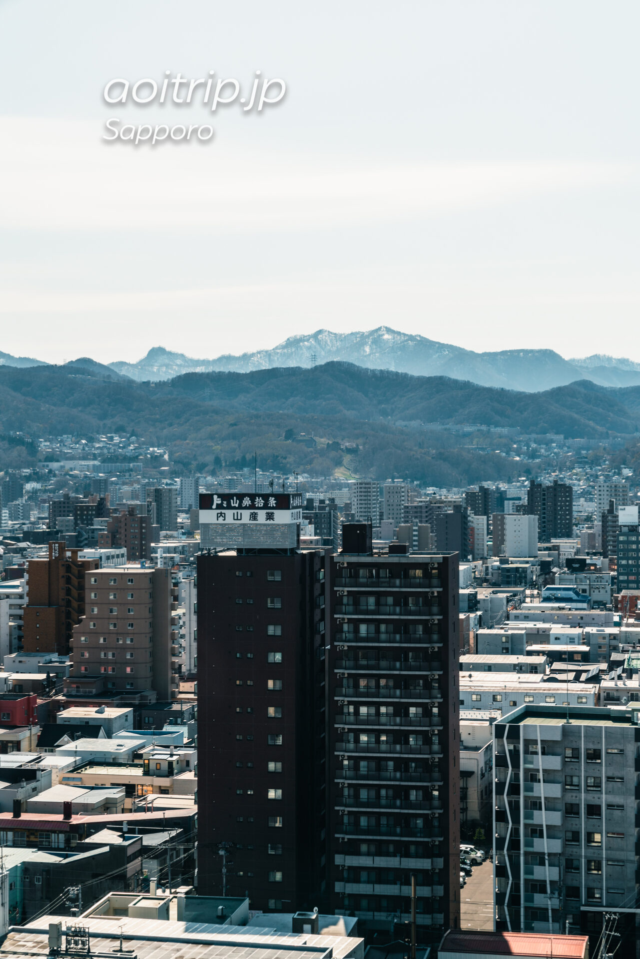 プレミアホテル中島公園札幌 西向き客室からの眺望。札幌プリンスホテル