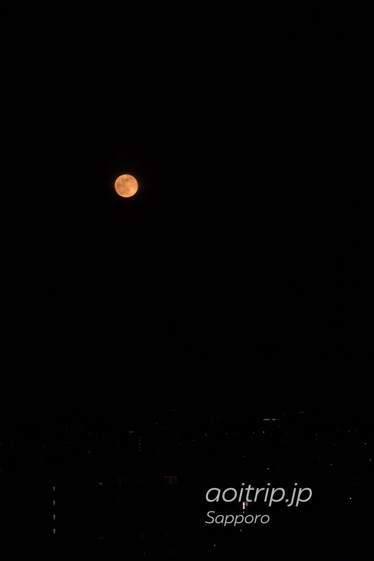 プレミアホテル中島公園札幌から望む4月の満月ピンクムーン