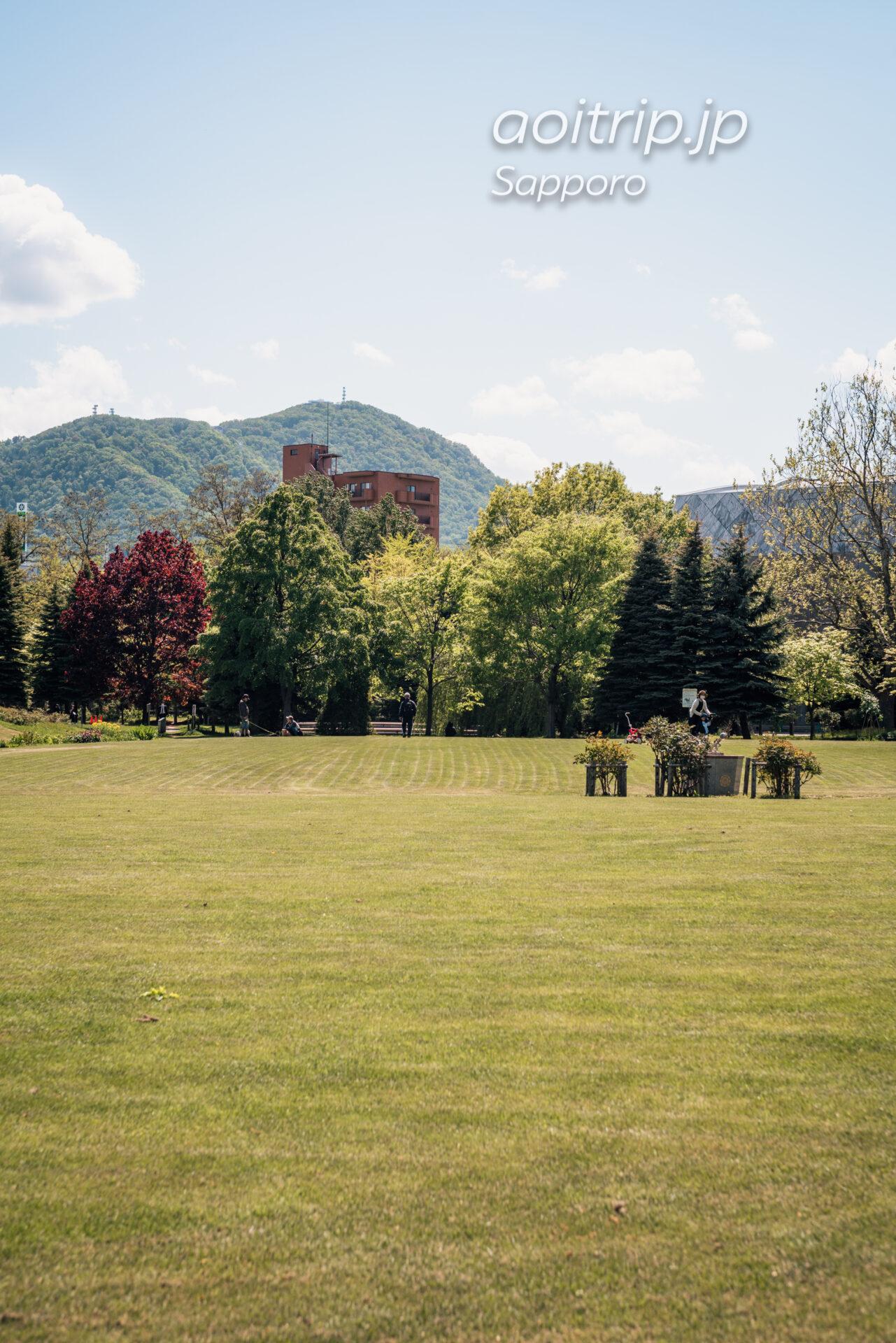 中島公園から望む藻岩山