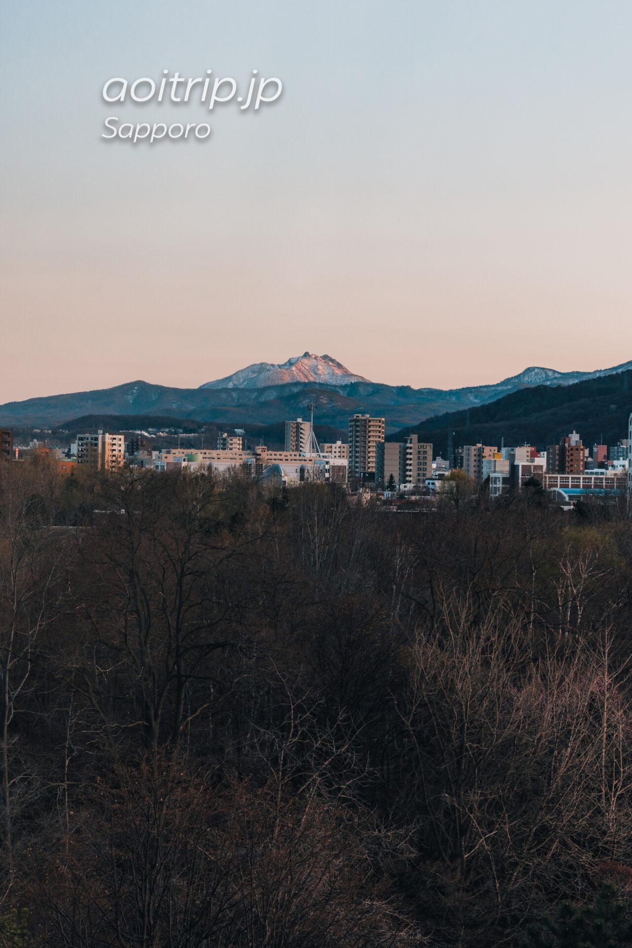 札幌パークホテルの客室 スーペリアクイーンダブルから望む恵庭岳