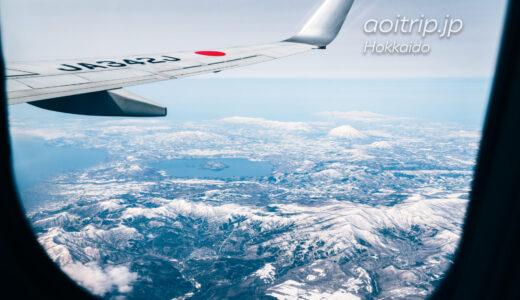 北海道の航空写真 飛行機の窓からの景色