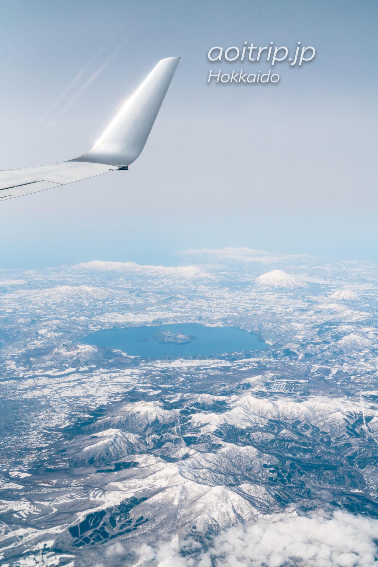 北海道の航空写真 飛行機の窓から 3月 支笏洞爺国立公園の眺望 洞爺湖