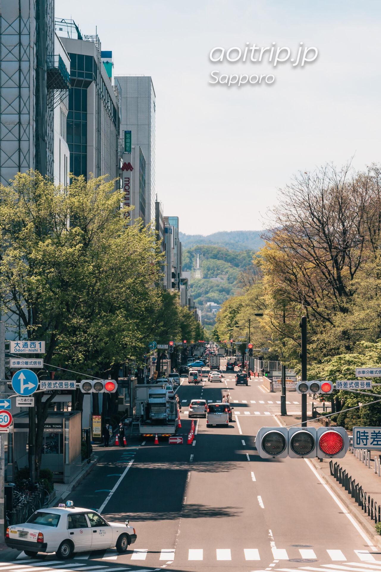 創成川公園の歩道橋から大倉山ジャンプ競技場を望む