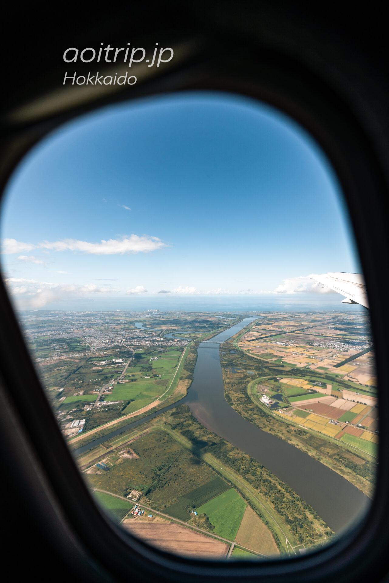 丘珠空港を出発した機内から石狩川、豊平川を望む