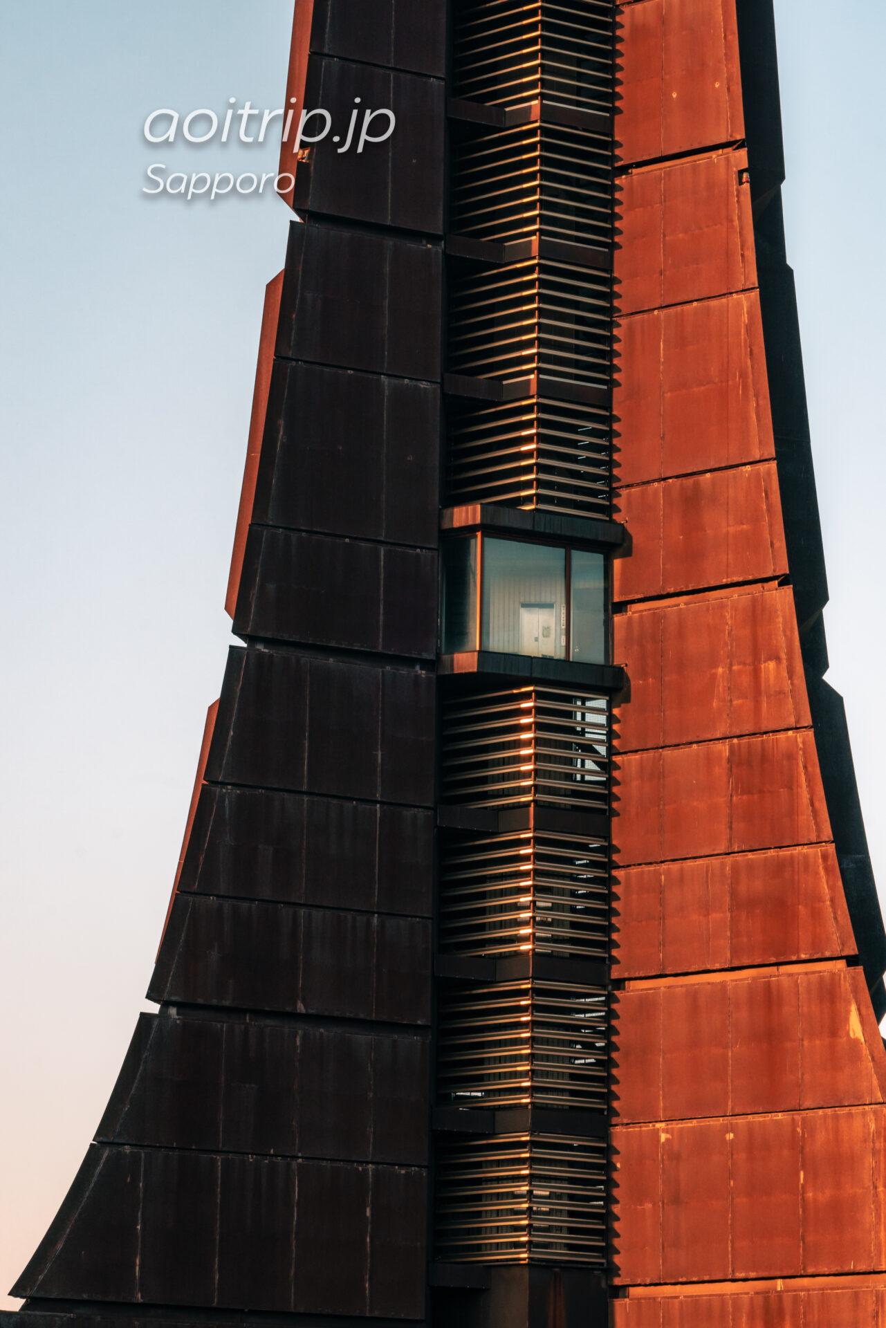 北海道百年記念塔の外壁 コルテン鋼(耐候性鋼板)