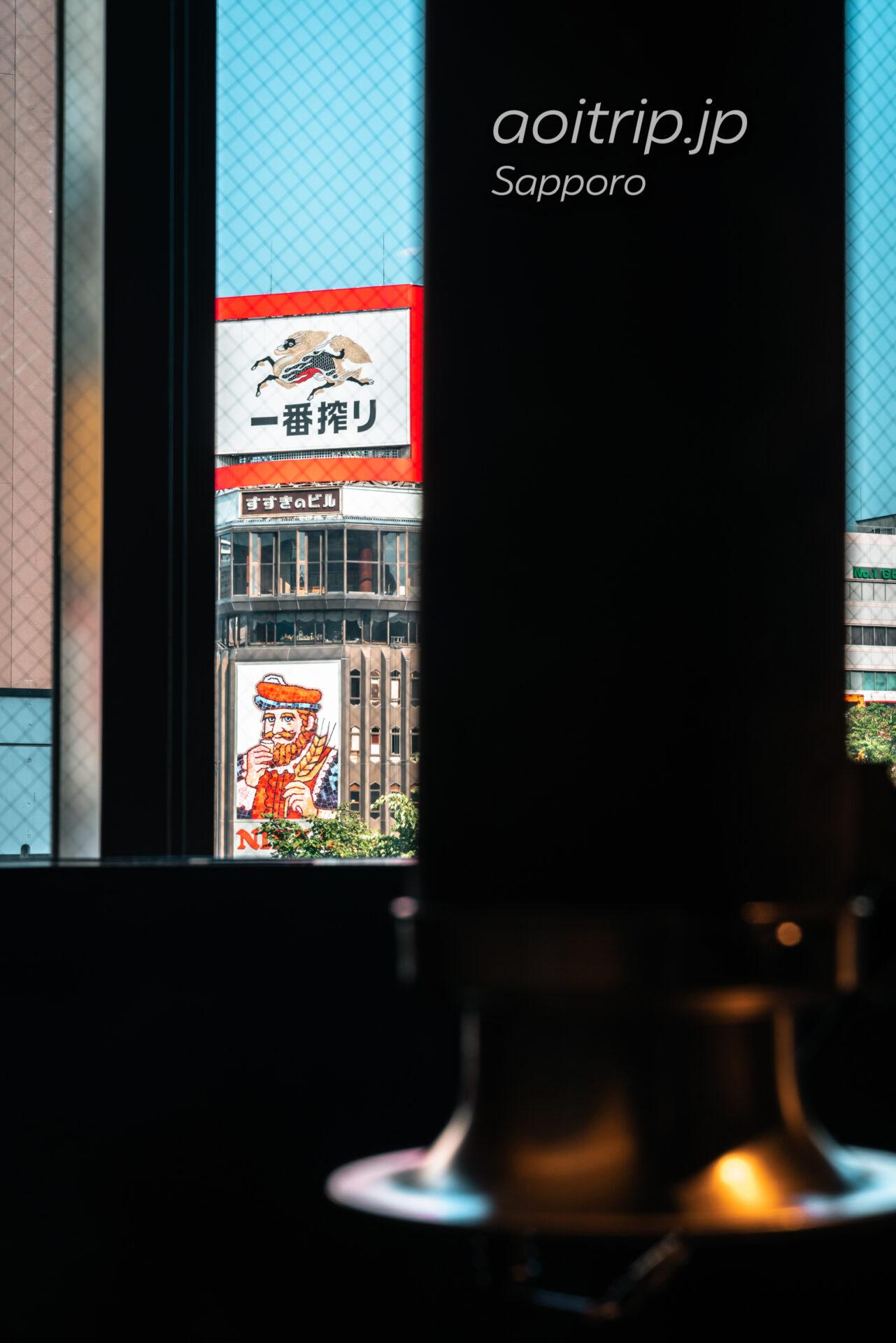 札幌 夜空のジンギスカン Yozora no Genghis Khan, Sapporo 店内からの眺め