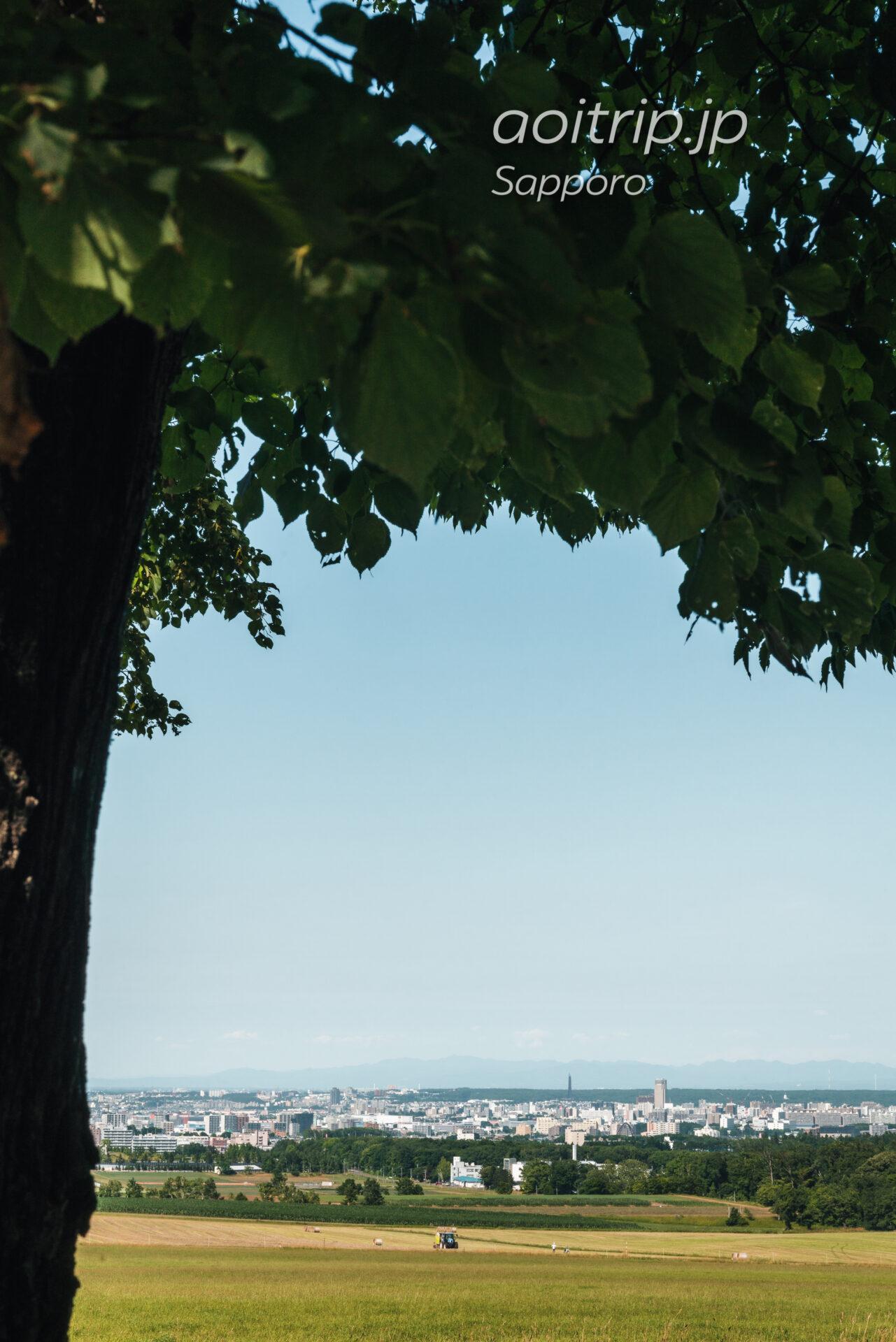 さっぽろ羊ヶ丘展望台から野幌森林公園、北海道百年記念塔を望む