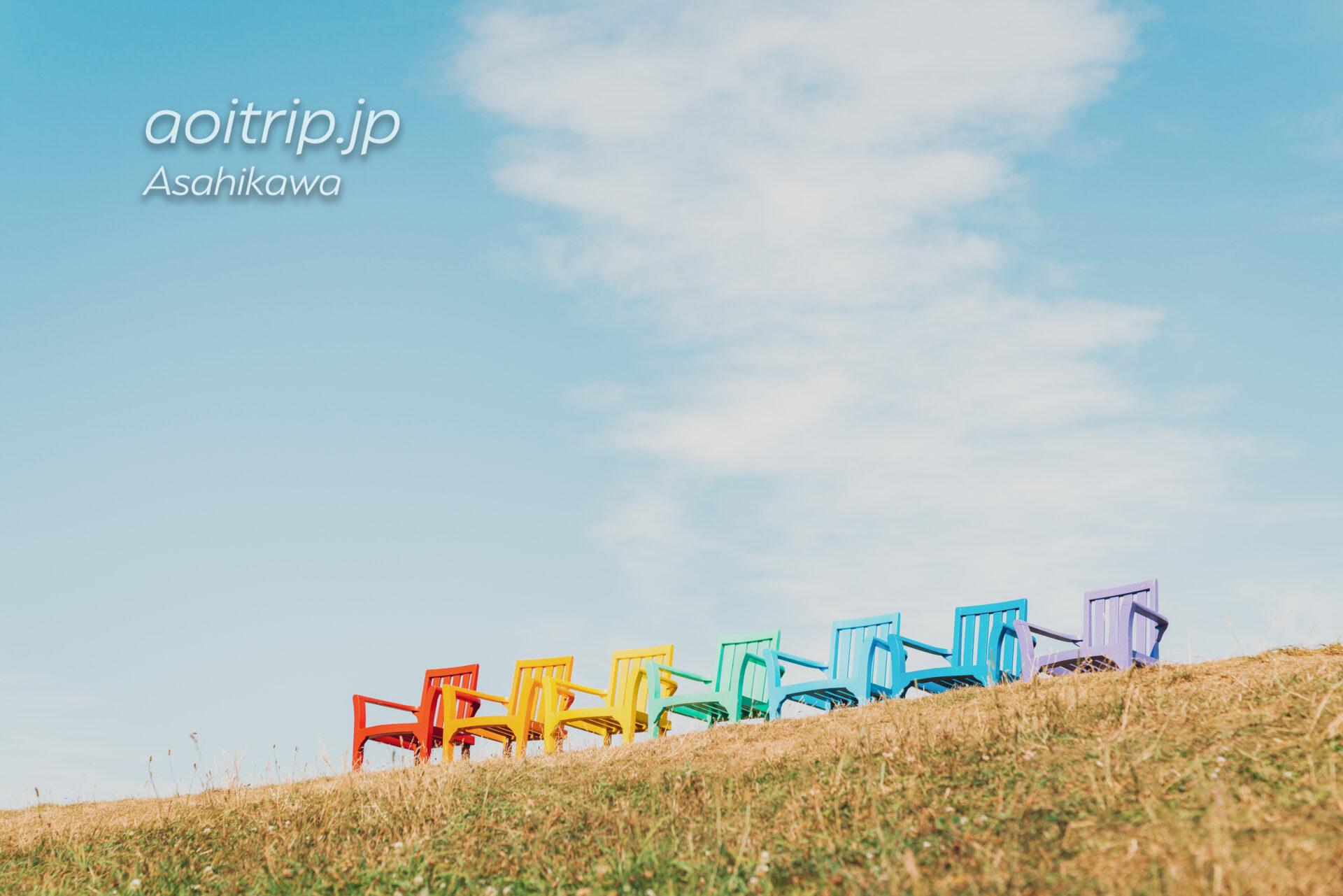 旭川の上野ファーム 射的山の7色の椅子