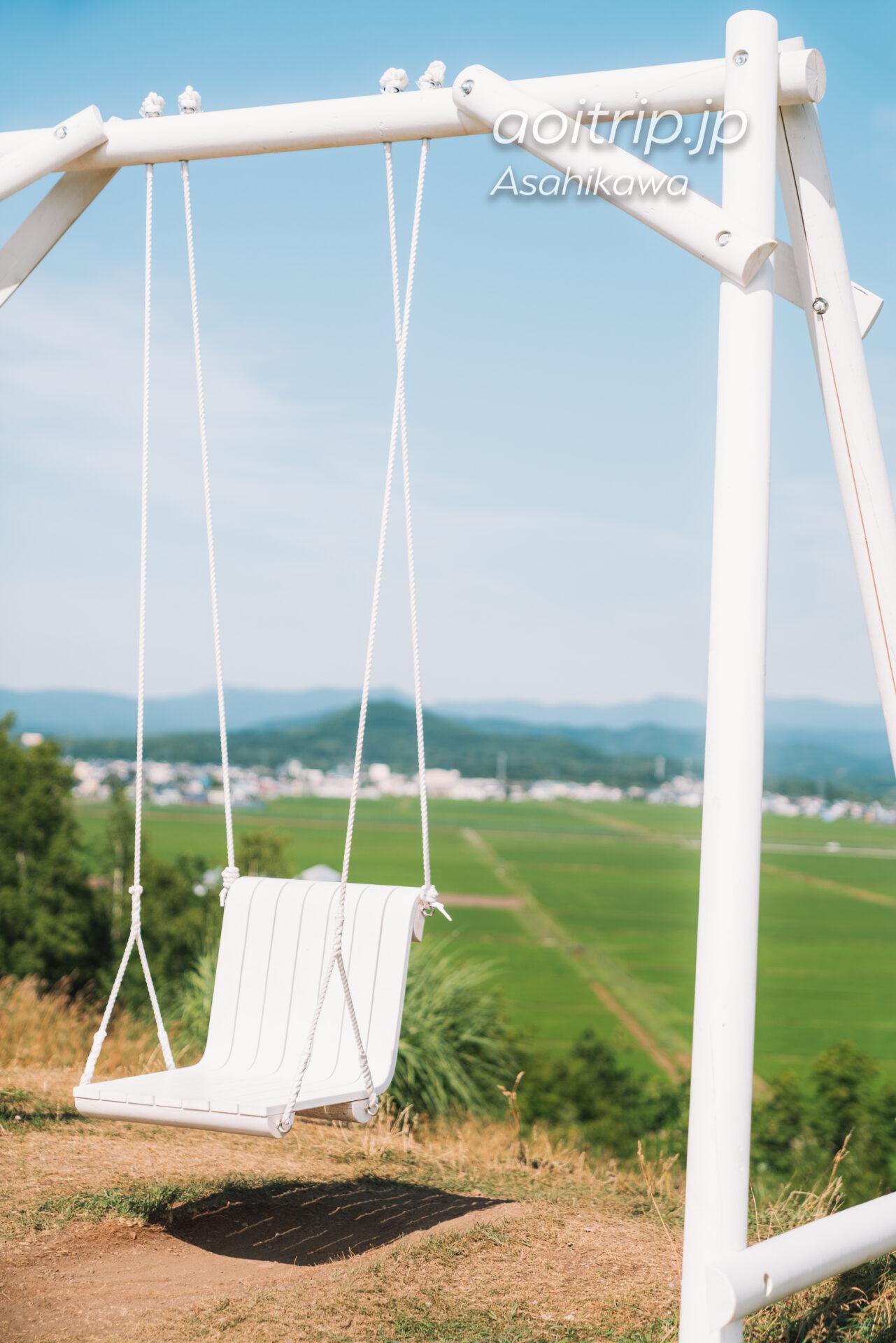 旭川の上野ファーム 射的山の白いブランコ
